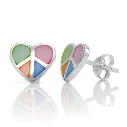925 Sterling Silver Multi-Colored Mother of Pearl Peace and Love Heart 10 mm Post Stud Earrings