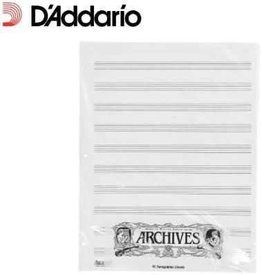 D'Addario X10S gelochte Notenblaetter - 50 Blatt - 10 Notenbalken