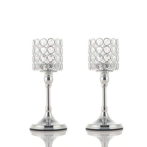 VINCIGANT Silver Long Stem Crystal Candlesticks Holder Set of 2 for Mother's Day Table Centerpieces/Modern Gift for Anniversary Celebration,10 Inches Tall
