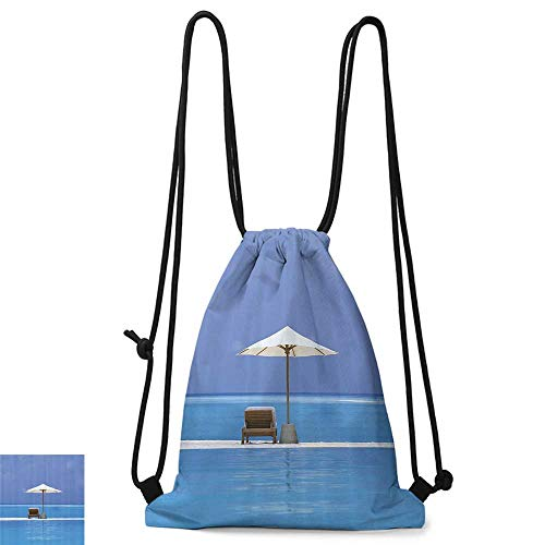 Drawstring backpack Seaside Decor Beach Chairs and Umbrella on A Island in the Middle of Ocean Seascape Picture W14
