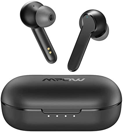 Wireless Earbuds, Mpow MBits S True Wireless Earbuds w/Mic, CVC8.0 Noise Cancelling Headphones, Bluetooth 5.0 Earphones Charging Case, Deep Bass/IPX8 Waterproof/35H Playtime/Touch Control/3 Mode,Black