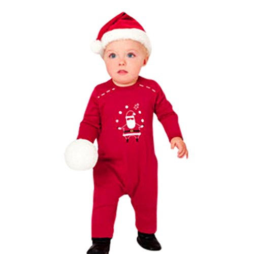 es, Forthery 1PCS Baby Girl Boy Christmas Santa Costume Outfits (3-6 Months, Red) ()