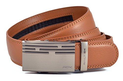 Light Brown Leather Belt Strap (Railtek Belts Men's Leather Ratchet Belt - Zinc Light Brown)