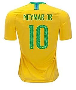 Jia-Storsyi 2018 Russia World Cup Neymar JR #10 Brazil National Home Men Soccer Jersey Color Yellow Size M