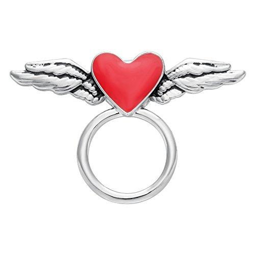 SENFAI Lovely Flying Enamel Red Heart Magnetic Clip Holder Eyeglass Holder Brooch Jewelry (Silver) ()