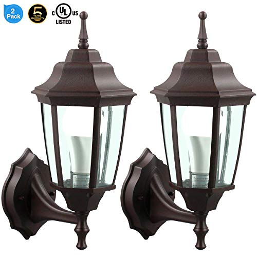LED Wall Lantern, Wall Sconce as Porch Light, 14W (100-150W Equivalent), 1500 Lumen, Aluminum Housing Plus Glass, Matte Finish, Outdoor Rated,UL Include (A21 14W),Brown for 2Pack 6066S