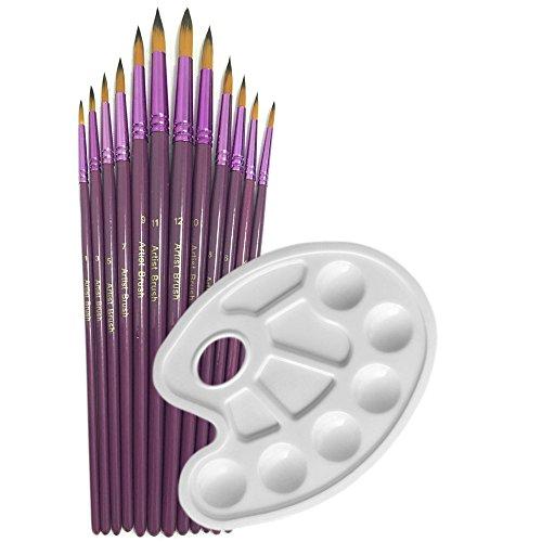 12 Pieces Art Paint Brushes Set with Bonus - 7 Piece Art Set