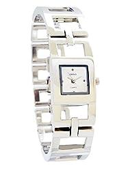 Ferenzi Women's | Sophisticated Silver-Tone Open Square Link Bracelet Watch| HA0267