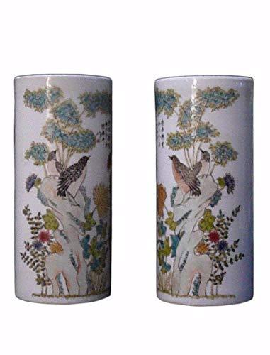Pair Oriental Flower Scenery Porcelain Column Vase Acs199