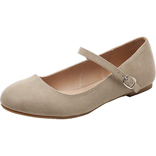 - Luoika Women's Wide Width Flat Shoes - Comfortable Ankle Strap Mary Jane Ballet Flats.(180901,Beige MF,13)