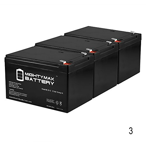 UPC 730052507034, 12V 15AH F2 Replacement Battery for eBike 24v Bicycle Comp - 3 Pack - Mighty Max Battery brand product