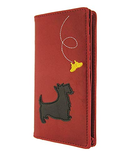 (LAVISHY Scottie/Westie dog applique vegan/faux leather large wallet)