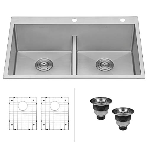- Ruvati 33-inch Drop-in Low-Divide Tight Radius 50/50 Double Bowl 16 Gauge Topmount Kitchen Sink - RVH8051