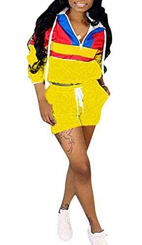(Women 2 Piece Outfits Tracksuit Jumpsuits Lightweight Windbreaker Pullover Jacket Crop Top Pants Jogger Set Yellow)