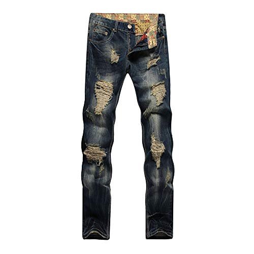 6dd62700129 WEEN CHARM Men s Ripped Slim Fit Tapered Leg Jeans Vintage Style With  Broken Holes