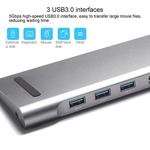 JINYANG USB Hub 11 in 1 60W 3 USB 3.0 Ports HUB Docking Station for MacBook Laptop with USB-C//Type-C Charging Port /& 3.5mm Aux /& SD//MMC Interface /& TF//Micro SD Interface /& VGA /& HDMI /& Mini DP
