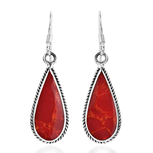 Classic Teardrop Shaped Reconstructed Red Coral Inlaid .925 Sterling Silver Dangle Earrings