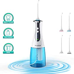 Water Flosser Oral Irrigator, YUNDOO Cordless Rechargeable Anti Leakage Non-slip 300 Ml Water Pick Teeth Cleaner with Power Light for Braces, Implants, Bridges, Dental Care at Home and Travel