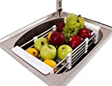 Xintan Tiger Sink Colander Tableware Drying Rack Telescopic Stainless Steel Drain Basket Dish Racks Wash Vegetable Fruits Hanging Basket Sink Drying Rack
