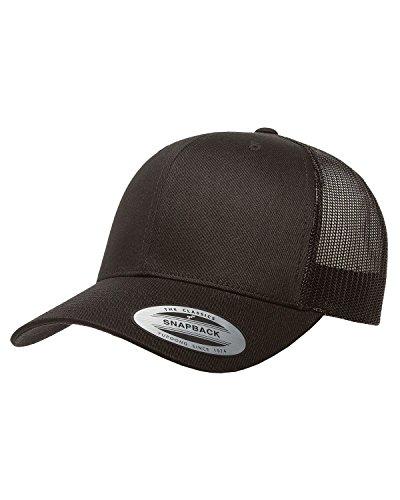 Yupoong Retro Trucker Hat & 2-Tone Snapback - 6606, (Black) Black Adjustable Trucker Hat