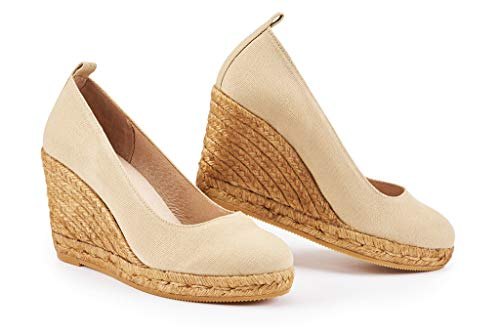 VISCATA Marquesa 3.25 inch Wedge Pump, Canvas, Slip-on, Closed Toe, Espadrilles Heel Made in Spain, Beige, 39 M EU, 8 B(M) US