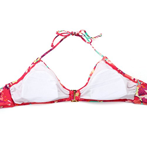 Colloyes Mujer Verano Traje de Baño Dos Piezas Bikini Triangle Swimsuit Playa Vestidos Ropa Swimwear Rojo Floral