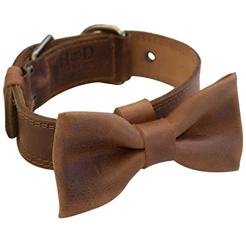 Hide & Drink, Leather Bow Tie for Dogs Fits (1.25 in.) Wide Collars (Collar Not Included) / Pet/Fancy/Cute/Doggie Lover, Handmade Includes 101 Year Warranty :: Bourbon Brown ()