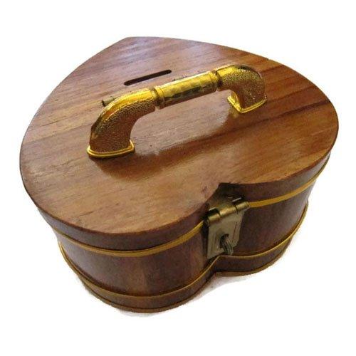 Wooden Handmade Decorative Heart Piggy Bank Vintage Style Storage Box 6 inch (Mens Kermit Suit Costume)