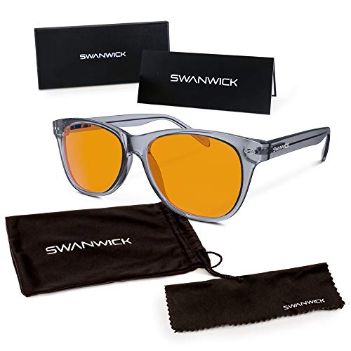 Swannies Premium Blue Light Blocking Glasses for Better Sleep and Eye Strain Relief for Computer Games, Reading or TV Screens - (Smoky Quartz) Regular ()