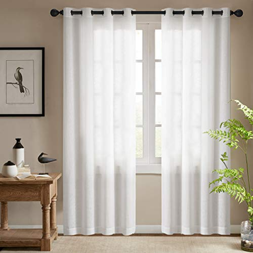 - Semi Sheer White Curtains for Bedroom Window Curtains 84 Inches Long Grommet Top Casual Weave Textured Living Room Window Treatments (2 Panels, White)