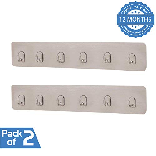 HOKIPO Magic Sticker Series Self Adhesive Plastic Bathroom/Kitchen Wall Hook Rail for Hanging Napkin, Utensils, Key (Silver) - Pack of 2 (B07T7GB7HJ) Amazon Price History, Amazon Price Tracker