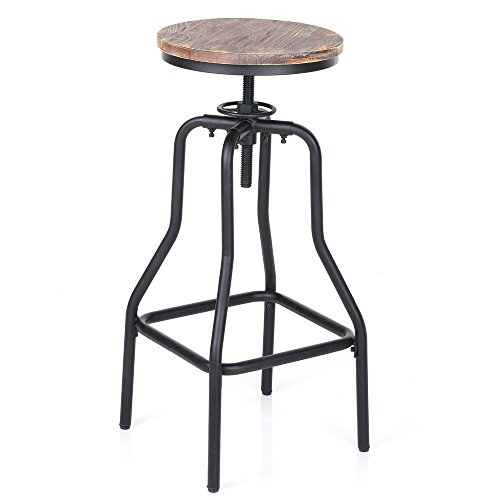 IKAYAA Adjustable Height Swivel Bar Stool Chair Kitchen Dining Breakfast Chair Natural Pinewood Industrial Style (Kitchen Stools For Breakfast Bar)