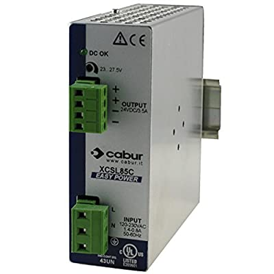 ASI XCSL85C DIN Rail Mount Power Supply, 24 Vdc, 85 Watt, 3.5 Amp Output, 90 to 264 Vac Input, (Pack of 1)