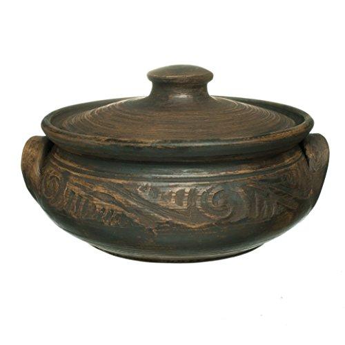 Handmade Ceramic Cooking Earthen Pot 17oz 500ml Clay Kitchen Black Tikhonov Artisan (Earthen Patterns)