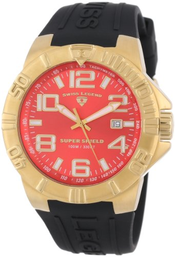 Swiss Legend Men's 40117-YG-05 Super Shield Red Dial Black Silicone Watch