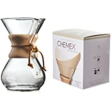 Chemex Bundle - 2 Items: Classic Glass Coffeemaker and FSU-100 Natural Square Filters (6-cup)