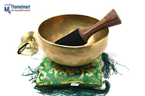 "9"" Heart Chakra Tibetan Singing Bowl~ for Meditation, Healing, Mindfulness, Relaxation & Sound Therapy ~with Wooden Mallet, drum-stick, Square Cushion, Tingsha Cymbals ~ Handmade in Nepal"