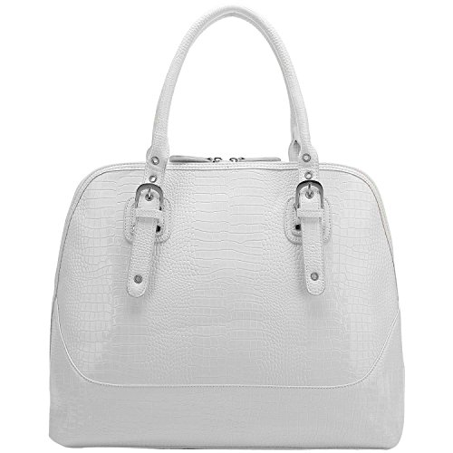 FASH Glossy Crocodile Print Embossed Satchel Style Top Handle Computer Handbag,White,One Size