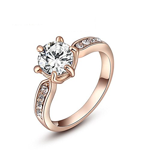 Winter.Z Noble and Elegant Ladies Jewelry Popular Explosion Models Austria Crystal Rose Gold Six claws Ring Wedding