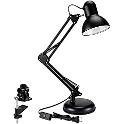 TORCHSTAR Metal Swing Arm Desk Lamp, Interchangeable Base Or Clamp, Classic Architect Clip On Table Lamp, Multi-Joint, Adjustable Arm, Black Finish (UL Plug)