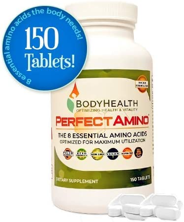 BodyHealth – PerfectAmino 150 Count – Amino Acid Supplement Includes BCAAs for Energy, Branched Chain Amino Acid Pills for Pre- and Post-Workout, Vegan Veggie Protein, All 8 Essential Amino Acids
