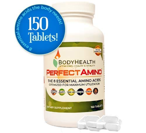 BodyHealth PerfectAmino Tablets (150 Tabs) All 8 Essential Amino Acids with BCAAs + Lysine, Phenylalanine, Threonine, Methionine, Tryptophan, Supplement for Muscle Mass Production, Recovery & ()