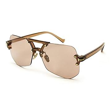 KLXEB Randlose Sonnenbrille Frauen Mode Sommer Stil Marke Designer Retro Uv 400 Männer Glas, C4