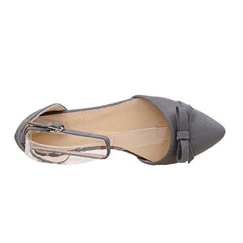 AalarDom Mujer Hebilla Puntera Cerrada Mini Tacón Pu Sólido Sandalias de vestir Gris