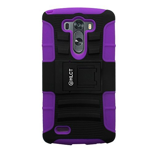 Price comparison product image LG G3 Case,  HLCT Rugged Shock Proof Dual-Layer PC and Soft Silicone Case With Built-In Kickstand for LG G3 (2014) (Purple)