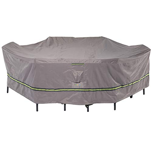 Duck Covers Soteria Rainproof 109 Long Rectangular Oval Patio Table with Chairs Cover