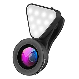 Wallfire 3 in 1 Cell Phone Lens with 3 Adjustable Brightness Fill Light ,15X Macro 0.4X-0.6X Wide Angle Lens , HD camera lens for iPhone 7/7 Plus/6s/6s Plus/6/5, Samsung & Most Smartphones