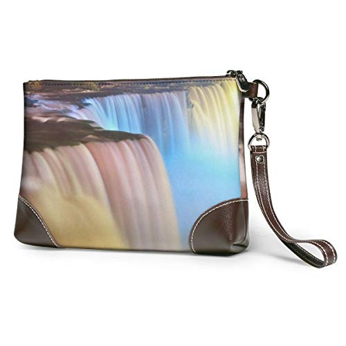 Women's Leather Zipper Wristlet Niagara Falls Waterfall With Lights Cellphone Card Wallets Clutch Holder Purse