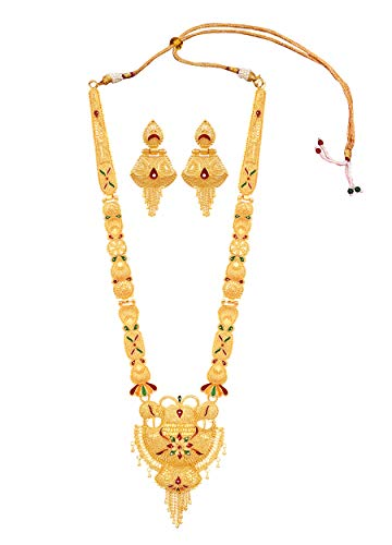 Mansiyaorange Party One Gram Gold Forming Premium Long Haram Multi Color Jewellery Necklace/Juelry/jwelry Set Jewellery for Women