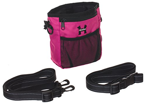 Pink Dog Treat Bag - Treat Training Pouch for Small, Medium and Large Dogs with Built-In Poop Bag Dispenser, Waist and Shoulder Reflective Straps and Belt Clip - Puppy and Adult Dog Treats Tote Bag ()